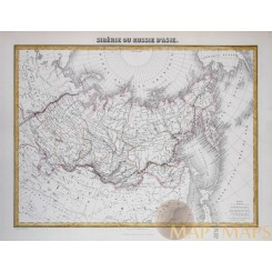 Kamchatka Asiatic Russia antique atlas map by Migeon 1884