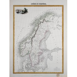 Sweden Norway Old map Suede et Norvege Migeon 1884