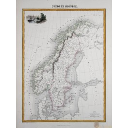 Scandinavia Sweden and Norway antique atlas map by Migeon 1884