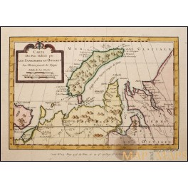 Novaya Zemlya Russian coast Samojedes et Ostiacs antique map by Bellin 1746