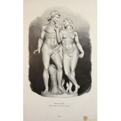 Adam and Eve Fine antique print Ferdinand Schloeth 1840