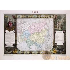 Asia Antique atlas map Asie by Levasseur Pellisseur 1861