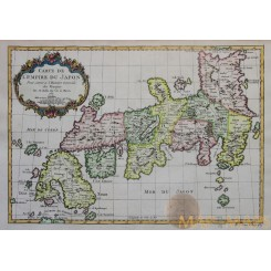 Carte de L'Empire du Japon Old map Empire of Japan Bellin 1752