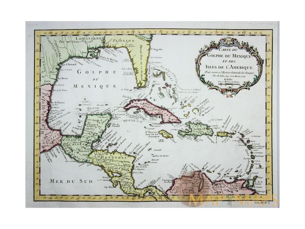Carte Cuba Amerique.Carte Du Golphe Mexique Old Map Mexico Bellin 1754 Mapandmaps