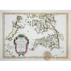 PHILIPPINES ANTIQUE MAP CARTE DES PHILIPPINES EAST INDIES BELLIN 1752