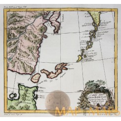 Antique Map of the Kuril Islands, Russia's Sakhalin Oblast region, Bellin 1740