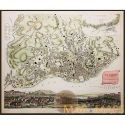 Lisbon, Portugal, Antique hand colored map,by Baldwin & Cradock 1833