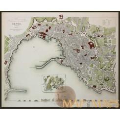 Genoa antique map Italy interesting map SDUK 1836
