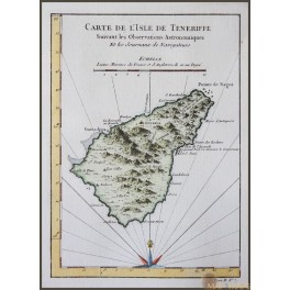 TENERIFE CANARY ISLAND ANTIQUE MAP CARTE DE L'ISLE DE TENERIFFE BELLIN 1750