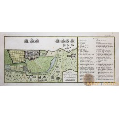 PLAN DE MADRAS AND FORT ST. GEORGE CHENNAI INDIA, OLD ENGRAVING BELLIN 1748