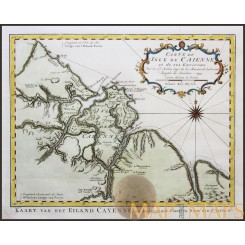 CAYENNE GUYANA, SOUTH AMERICA, OLD HISTORICAL ANTIQUE MAP BELLIN 1754
