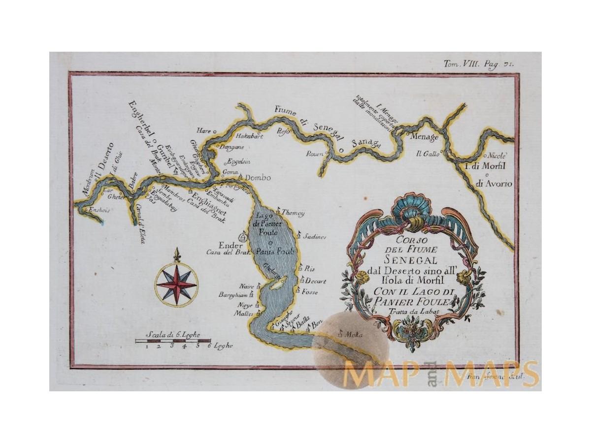 Senegal River Africa Map.Africa Antique Old Maps Senegal River Bellin Engraving M M