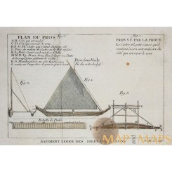 Flying Proa of The Ladrone Islands Antique print Bellin 1750