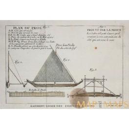 Sailing boat, Old design, Antique engraving by Bellin van Schley 1753