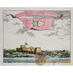 Fortress Winneba Gold coast Ghana Old print Bellin 1750