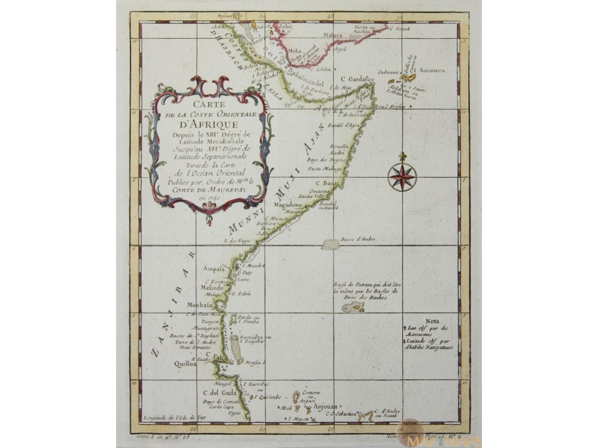 ANTIQUE MAP EAST COAST AFRICA CARTE DE LA COSTE ORIENTALE D'AFRIQUE BELLIN  1740