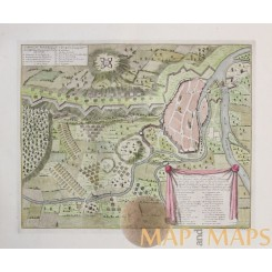 ANTIQUE MAP COMBAT DE DONAWERT BATTLE PLAN BATTLE OF SCHELLENBERG DUMONTH 1729