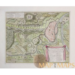 ANTIQUE MAP COMBAT DE DONAWERT BATTLE PLAN BATTLE OF SCHELLENBERG DUMONT 1729