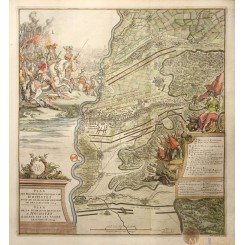 SLAG BIJ HÖCHSTÄDT ANTIQUE MAP THE BATTLE OF BLENHEIM JAN VAN VIANEN 1729
