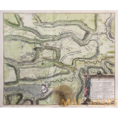 BATTLE OF OUDENARD OUDENAERDE OUDENAARDE BELGIUM ANTIQUE BATTLE PLAN RAPIN 1743
