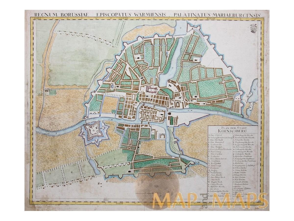 Konigsberg Kaliningrad Russia Old Map Homann 1732 Mapandmaps