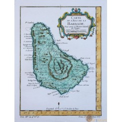 L'Isle de la Barbade Barbados West Indies map Bellin 1754
