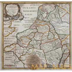 Germaniae Cisrhenanae Old map Roman Emperors by Cluver 1697