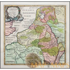 Low Countries in early times Germaniae Historical maps by Cluverius 1697