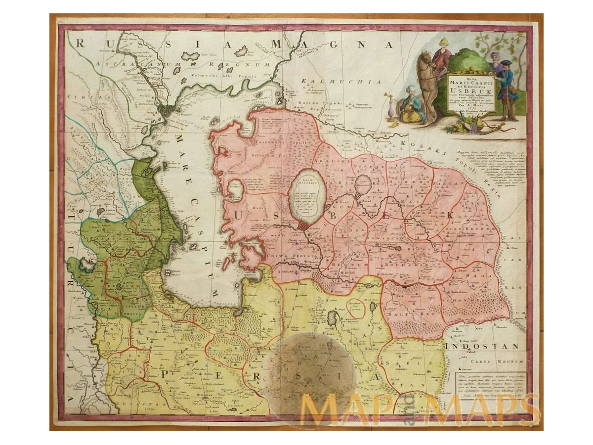 Cucasus Caspian sea and Usbekistan old map Homann, Johann Baptist Nuernberg  1735