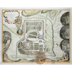 Jerusalem antique townplan Holy town by Bachiene 1750
