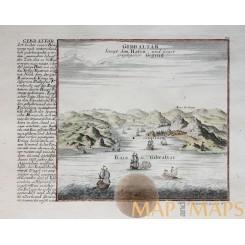 ANTIQUE ENGRAVING GIBRALTAR SAMPT DEM HAFEN BY BODENEHR 1720