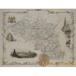 Antique map of Belgium Luxembourg by Tallis/Rakin 1851
