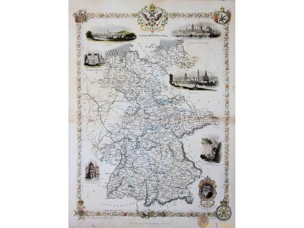 Germany Old Antique Map Tallis Rapkin 1850 Mapandmaps
