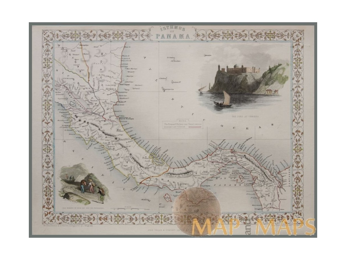 ISTHMUS OF PANAMA CENTRAL AMERICA ANTIQUE MAP ISHMUS OF PANAMA ...