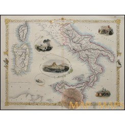 Antique map Southern Italy Sardinia Corsica and Sicilia, by Tallis/Rakin 1851