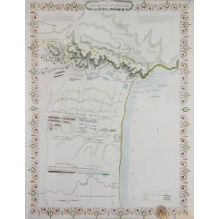 Plan the Battle of the Alma. Old map Crimean War. Tallis 1860