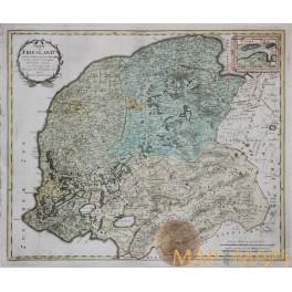 Friesland Frisia Holand Antique map CHARTE VON FRIESLAND Homann Heirs 1748