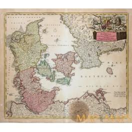 Alte historische Landkarte Skandinavien Geologie Karte Lithographie 1913