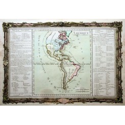 Amerique old map North And South America Desnos 1761