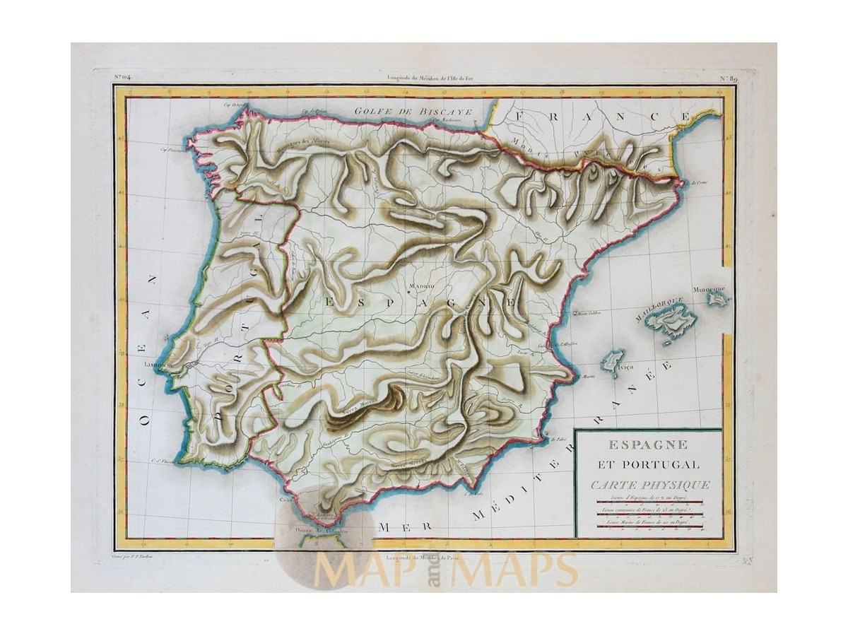 Spain Portugal Physical Geography Map By Mentelle 1767 Mapandmaps