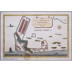 FORTRESS OF ST. THOMAS CRANGONAR INDIA ORIGINAL ENGRAVING BY BELLIN 1748