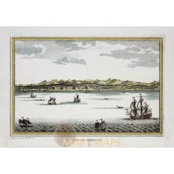 Indonesia Vue de Samboupo, Benteng Somba Opu, Bellin 1754