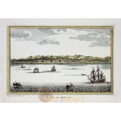 SULAWESI - VUE DE SAMBOUPO - INDONESIA – LARGE ANTIQUE ENGRAVING - BELLIN 1753