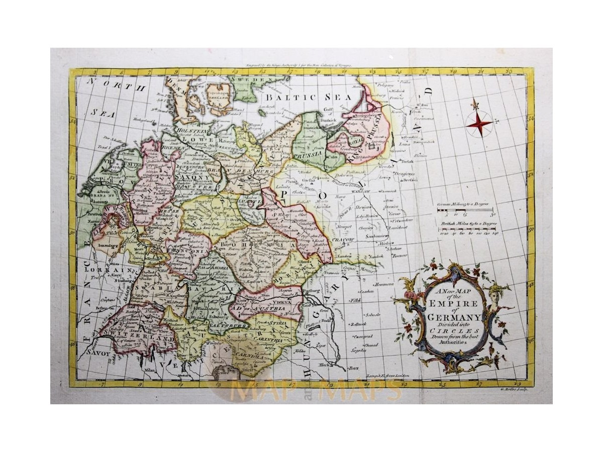 Map Of Germany And Hungary.Empire Germany Divided Into Circles Old Map Rollos 1755