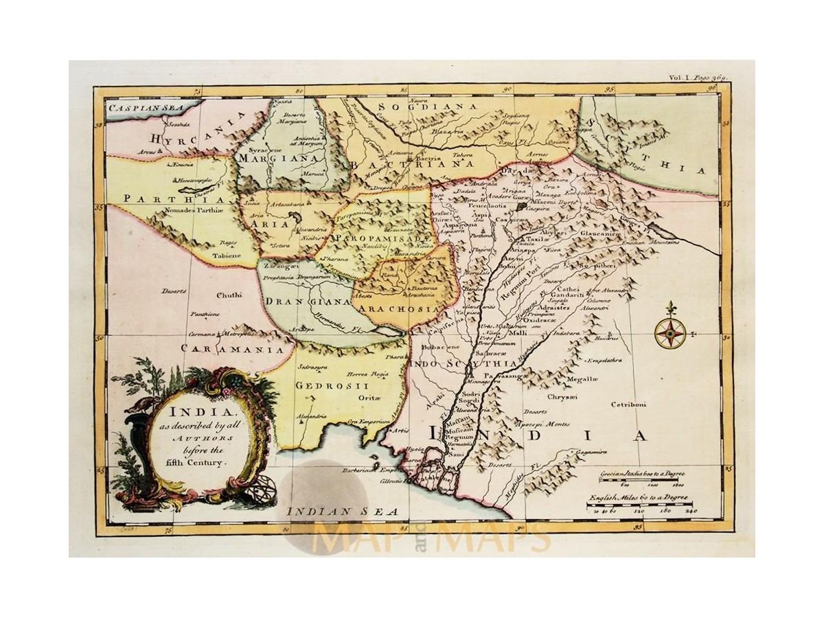 India as described by all authors Antique Bowen map 1745 | Mapandmaps