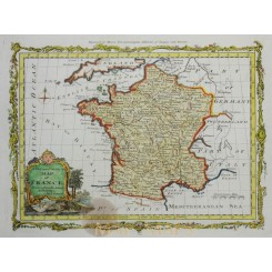 Cartography map of France copperplate engraved by Bowen 1785
