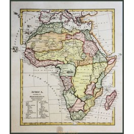 Africa including the Mediterranean Old map Africa desert by WILKINSON 1794.