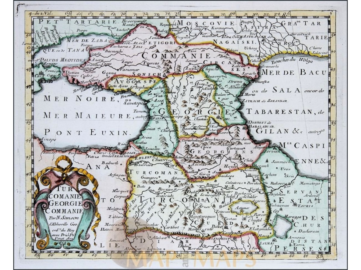 TURCOMANIA GEORGIE OLD MAP BLACK-CASPIAN SEA BY SANSON 1653 ...
