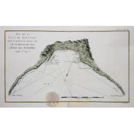 NAUTICAL CHART OF BONTHAIN BAY ON THE ISLAND OF CELEBES BY CAPT. COOK 1775