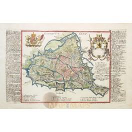 Gandavum – Gent Belgium Fine engraving Bodenehr 1720.